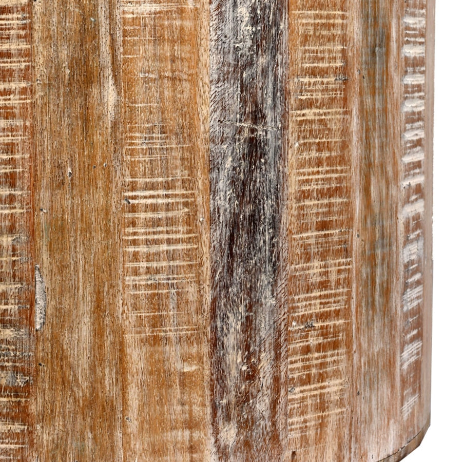 Groovy Distressed White Reclaimed Wood Antique Style Round Stool Pabps2019 Chair Design Images Pabps2019Com