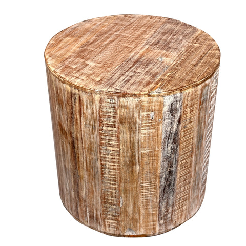 Distressed White Reclaimed Wood Antique Style Round Stool  Side Table
