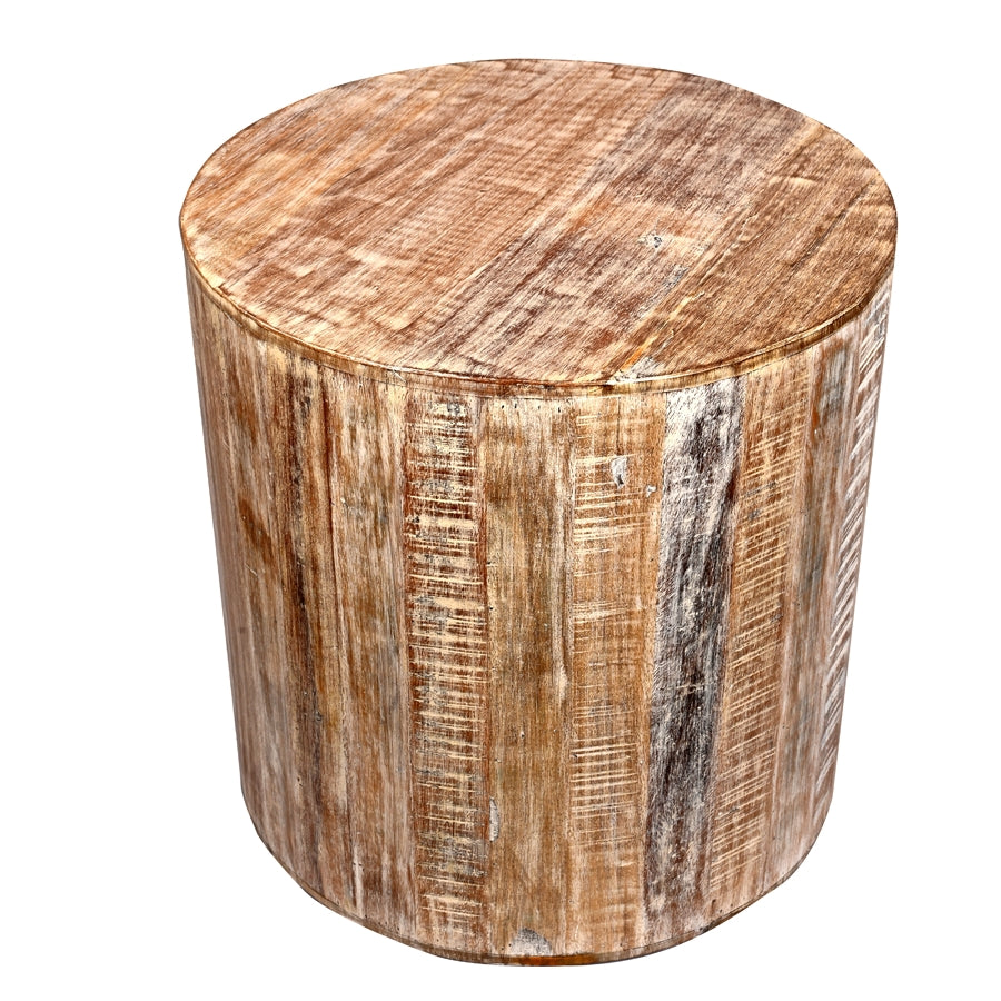 Astounding Distressed White Reclaimed Wood Antique Style Round Stool Pabps2019 Chair Design Images Pabps2019Com