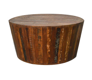 "Rustic Reclaimed Solid Wood Handmade 36"" Round Tapered Sides Barrel Coffee Table For Living Room"