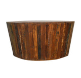 Recycled Wood Rustic Natural finish Handmade Wooden Round Tapered Sides Coffee Table