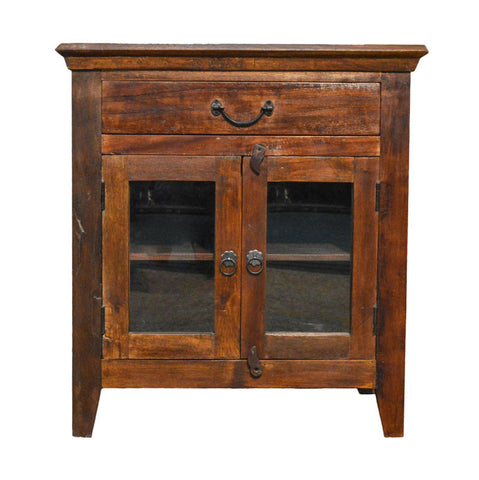 Recycled Wood Rustic Distressed Antique style Handmade Wooden  Night Stand Bedside Table with Drawers Glass Cabinet