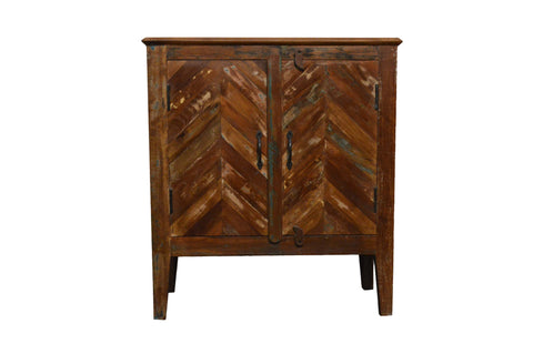 Recycled Wood Rustic Natural finish Handmade Wooden Storage Night Stand Bedside Table with Cabinet