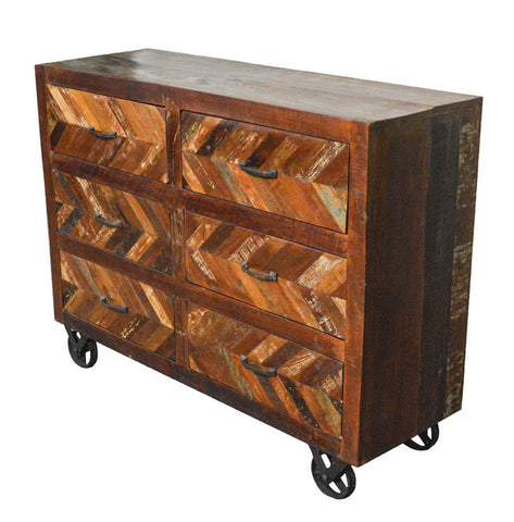 Reclaimed Industrial Sideboard Buffet Table on Iron Wheels
