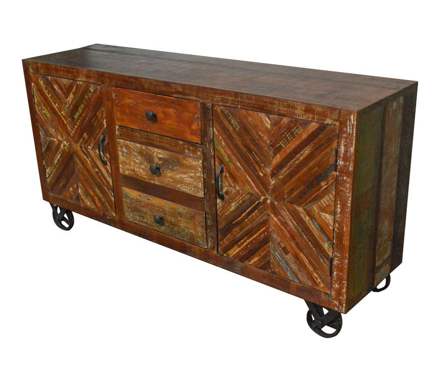 ... Reclaimed Industrial Sideboard Buffet Table Storage Cabinet On Iron  Wheels ...