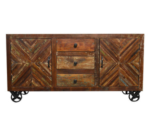 Recycled Wood Rustic Faded Antique white Handmade Wooden  Drawers Cabinet Buffet Server Sideboard with Caster Wheels