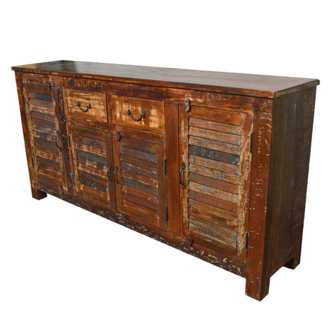 Reclaimed Industrial Sideboard Buffet Table Storage with Louvers Cabinet