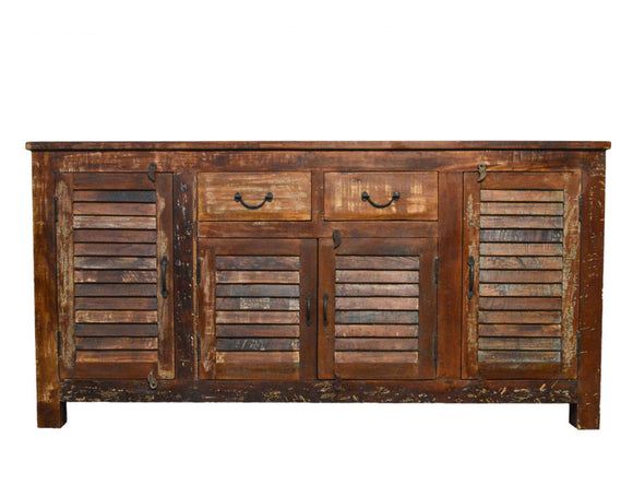 Recycled Wood Rustic Natural   Handmade Wooden Iron Grill Buffet  Sideboard  with Drawers louvers Cabinet