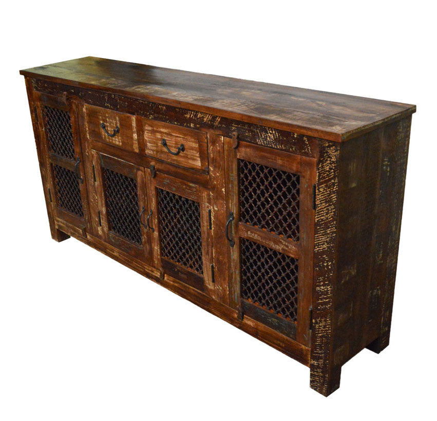 Reclaimed Wood Rustic Sideboard Buffet Table With Iron