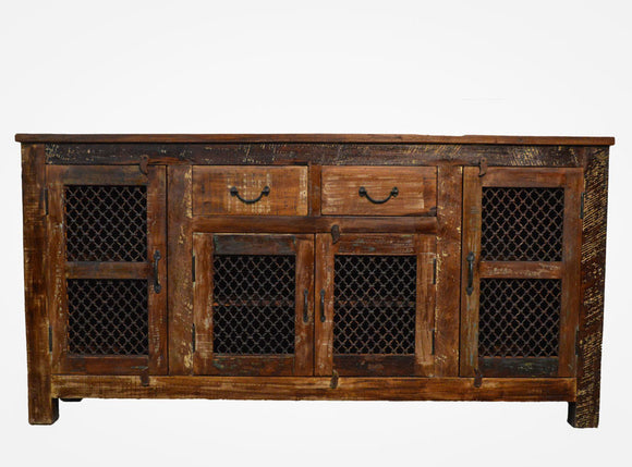 Recycled Wood Rustic Natural   Handmade Wooden Iron Grill Buffet  Sideboard  with Drawers Cabinet