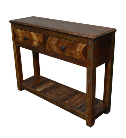 Recycled Wood Rustic Natural   Handmade Wooden 2 Drawer Hall Console Side Table