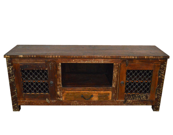 Recycled Wood Rustic Natural   Handmade Wooden Iron Grill TV Stand Plasma Cabinet Entertainment Center