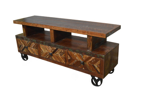Reclaimed Rustic Entertainment Center / Plasma Cabinet / TV Stand With Wheels