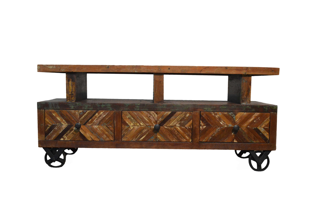 Superieur ... Reclaimed Rustic Entertainment Center / Plasma Cabinet / TV Stand With  Wheels