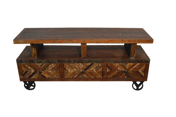 Recycled Wood Rustic Distressed  Handmade Wooden TV Stand Plasma Cabinet Entertainment Center with Caster Wheels