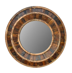 "Recycled Wood Rustic Natural  Handmade Wooden 36""Round Mirror Wall Decor"