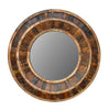 Rustic Reclaimed Round Wooden Mirror 36""