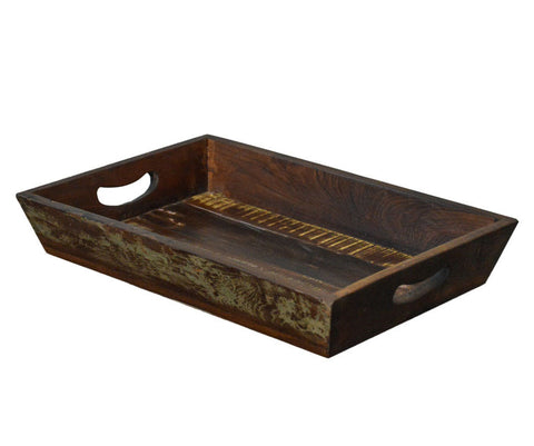 Primitive Style Reclaimed Wood Rustic Serving Tray