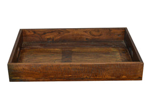 """Use your imagination to style this serving tray for a variety of entertaining and decorative situation. Breakfast in bed, accenting the coffee table, passing around drinks at your backyard party; serving trays have tons of function. Spruce up, highlight and compliment a space with this handcrafted reclaimed wood serving tray. The reclaimed wood features variations inherent to salvaged materials such as a rustic distressed finish, visible nail heads, knots, hairline cracks and oil stains, which may result i"
