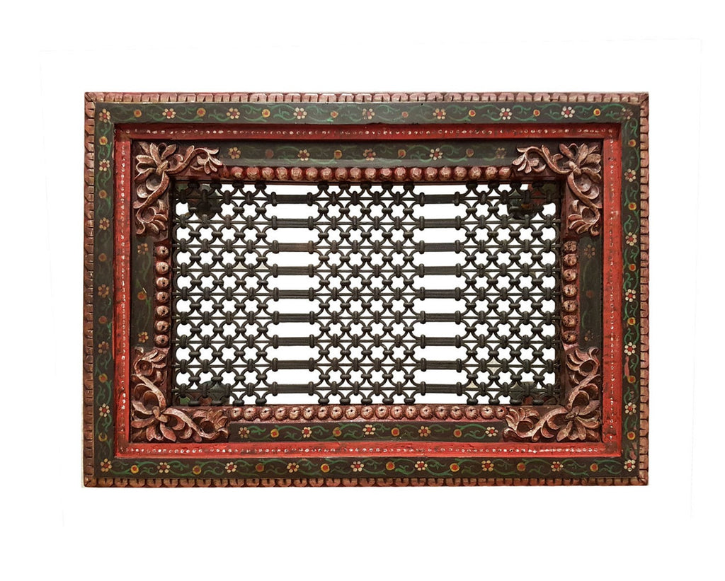 Wooden carved hand painted iron grill coffee table favors handicraft wooden carved hand painted iron grill coffee table geotapseo Gallery