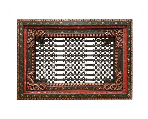 Wooden Carved Hand Painted Iron Grill Coffee Table
