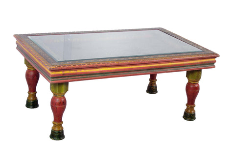 Hand Carved wood Traditional Rectangle Coffee Table with Glass top
