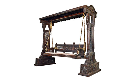 Jaisalmer Jharokha Design Wooden Carved Royal Swing Set / Indoor Jhula