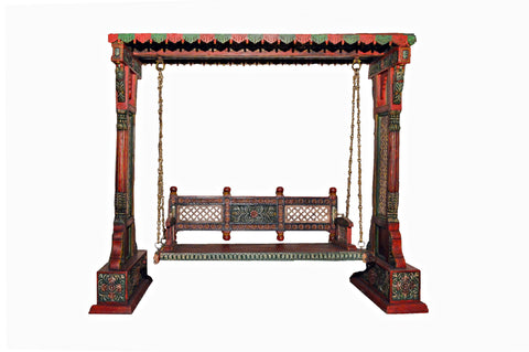 Indian Traditional  Jhoola Swing Wooden Painted 3 Seater