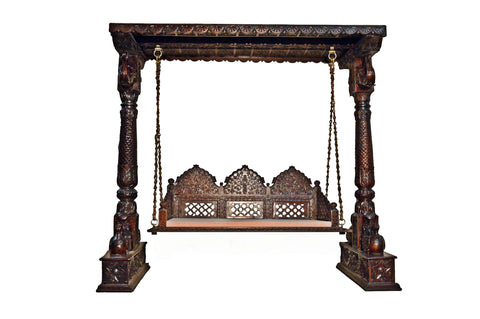 Carved Elephant & Peacock Brown Wooden Carved Royal Swing Set / Indoor Jhula