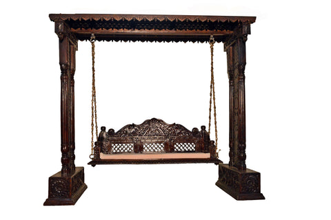Indian Traditional  Jhoola Swing Wooden Painted Brown 3 Seater