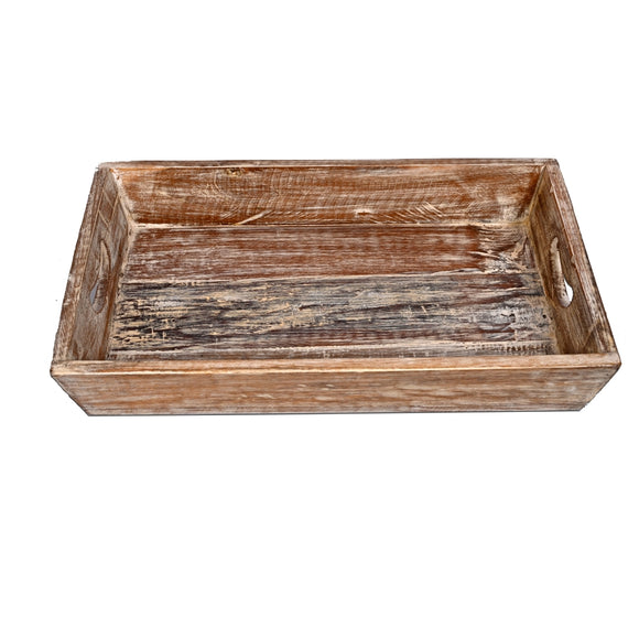 Solid Wood Reclaimed Rustic 18 Inch Farmhouse Tray Distressed
