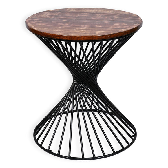 Industrial 20 Inch Accent Table With Reclaimed Wood Round Top And Iron Base