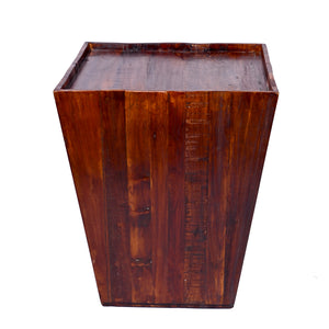Reclaimed cone shaped 18 inch Square Side table | Accent Table | End Table