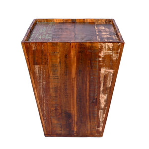 Reclaimed Cone Shaped 18 Inch Square Top Side Table / End Table / Accent Table For Living Room
