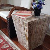 Distressed Reclaimed cone shaped 18 inch Square Side table | Accent Table | End Table