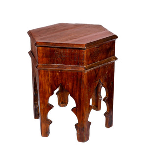 Reclaimed Moroccan Style 17 Inch Six Corner Accent Table For Living Room