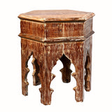 Reclaimed Moroccan Style 17 Inch Distressed Six Corner Accent Table For Living Room