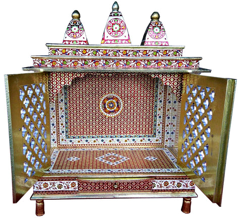 Beautiful Meenakari Multicolor Large Size Home Puja Mandir Hindu Temple Mandapam Altar with Door