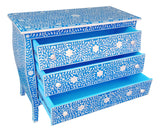 Curved French Provincial Style Bone Inlay Dresser Chest In Blue 42 Inch