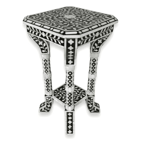 Handmade Wooden Carved Bone Inlaid Unique End Table Side Table Night Stand