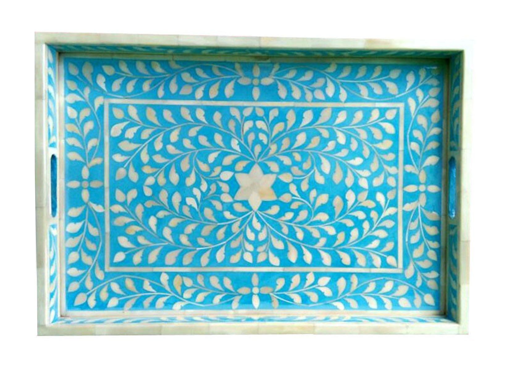 Blue Floral Bone Inlay Serving Tray Favors Handicraft