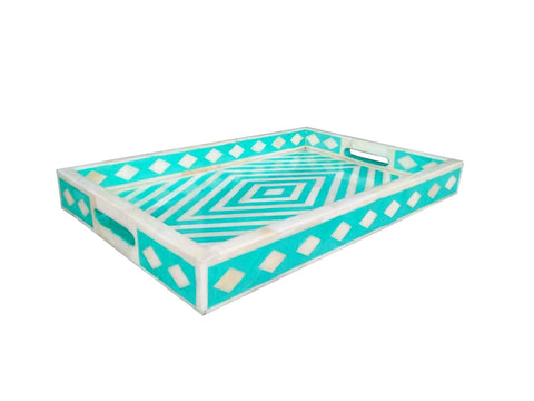 Geometric Bone Inlay Serving Tray in Green
