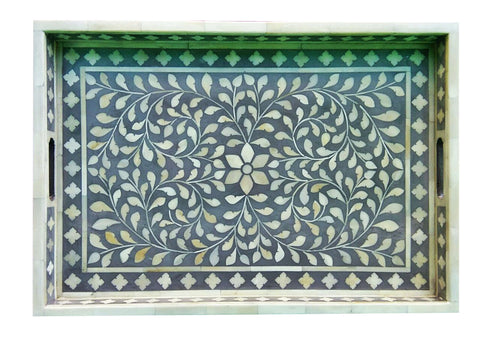 Floral  Bone Inlay Serving Tray in Gray