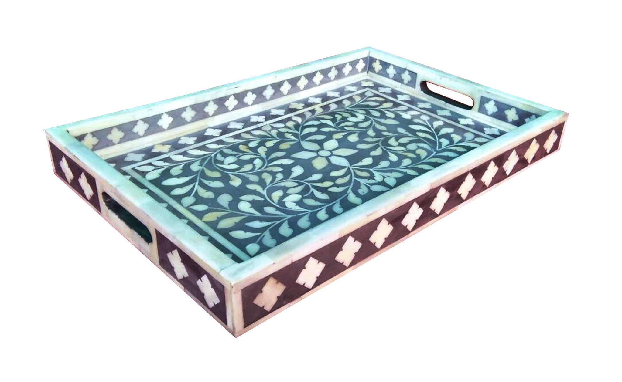 Floral Bone Inlay Serving Tray In Gray Favors Handicraft
