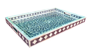 Handmade Wooden Carved Bone Inlaid Boho Chic Decorative Serving Tray