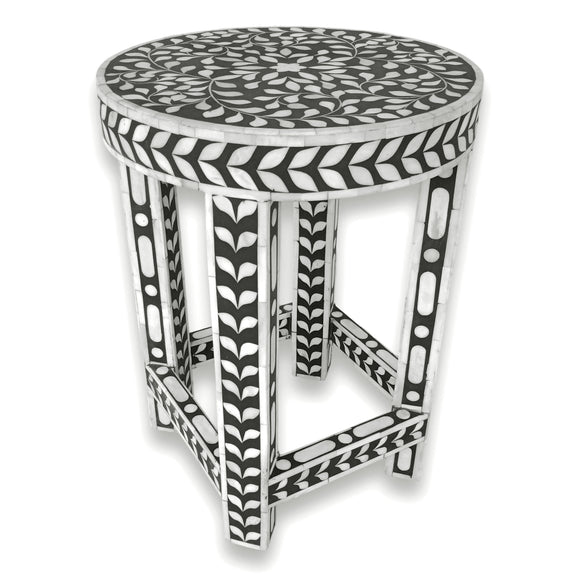 Floral Bone Inlay Black & White 13 Inch Round Accent Table / End Table For Living Room