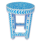 Floral Bone Inlay Blue 13 Inch Round Accent Table / End Table For Living Room