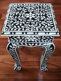 Floral Bone Inlay French Style 12 Inch Black & White Accent Table / End Table For Living Room