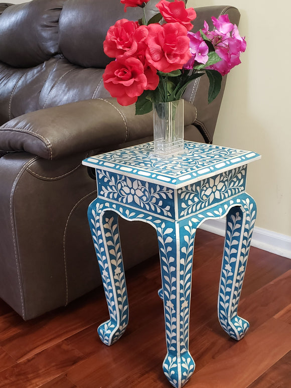 Floral Bone Inlay French Style 12 Inch Round Accent Table / End Table For Living Room