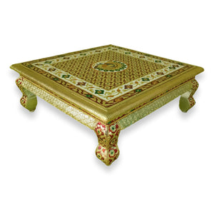 Persian Style Low Accent Table Vibrant Colors Peacock Design Enameled 16 Inch Chowki